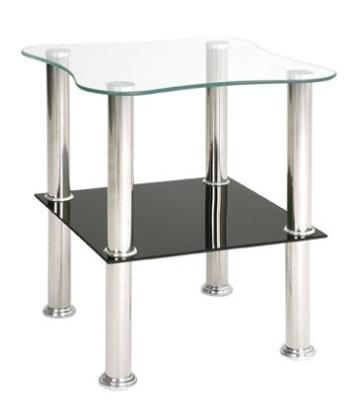 Beistelltisch bzw. Nachttisch in schwarz und weißem Glas; Maße: 40x40x47 cm -