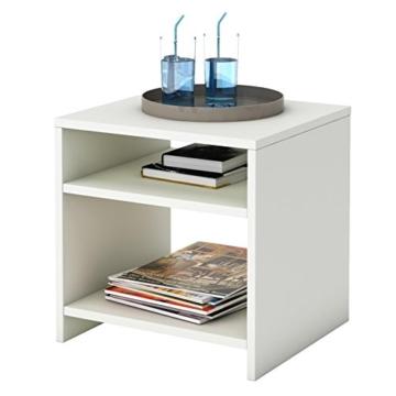 Beistelltisch Couchtisch Nachttisch ALMERIA in weiß mit 2 offenen Fächern 40x40x37 cm -