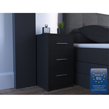 nachtkommode f r boxspringbett nachtschrank nachttisch kommode schrank schwarz. Black Bedroom Furniture Sets. Home Design Ideas