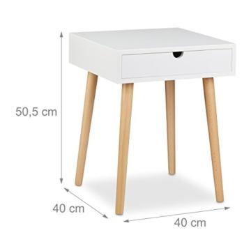Relaxdays Nachttisch Arvid Mit Schublade Nachtkommode Holz Beine