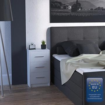 2x Nachtkommode für Boxspringbett Nachtschrank Nachttisch Kommode Schrank weiß - 4