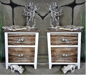 2 X Nachttisch Nachtschrank Kommode Landhaus Shabby Chic Weiß Braun Holz  Stehend Eckig Schublade Schränkchen Schlafzimmer Jugendzimmer