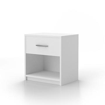 2x Nachtschrank Nachttisch Jugendstil Modern Klassisch Eckig Stehend Holz  Schublade Schränkchen Weiß Schlafzimmer Jugendzimmer Kinderzimmer