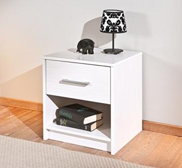 Nachtkommode Nachttisch Schlafzimmerkommode Klassisch Modern Jugendstil  Schränkchen Schublade Weiß Silber Holz Stehend Eckig Jugendzimmer  Schlafzimmer