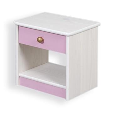 Nachtkommode klassisch modern Holz stehend eckig weiss rosa Schublade Schränkchen Schlafzimmer Kinderzimmer Jugendzimmer -