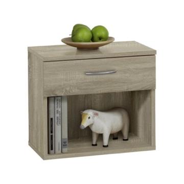 Nachtkonsole modern Jugendstil klassisch braun Holz stehend eckig Schublade Schränkchen  offen Schlafzimmer Jugendzimmer Kinderzimmer -
