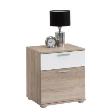 Nachtkonsole  modern klassisch Jugendstil Holz braun weiß stehend eckig Schränkchen Schublade Jugendzimmer Kinderzimmer Schlafzimmer -