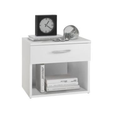 Nachtkonsole modern weiß Holz stehend eckig Schublade Schränkchen  offen Schlafzimmer Jugendzimmer Kinderzimmer -