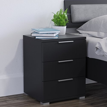 nachtschrank kommode nachttisch 2er set jugendstil modern stehend eckig holz schwarz. Black Bedroom Furniture Sets. Home Design Ideas
