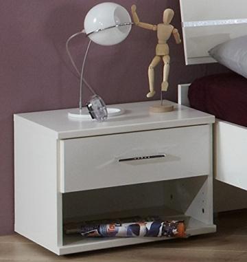 Nachtschrank Kommode Nachttisch Modern Klassisch Weiß Stehend Eckig Holz  Schränkchen Schublade Offen Schlafzimmer Jugendzimmer