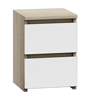 Nachttisch  Nachtschrank Nachtkommode Nachtkonsole modern Jugendstil weiß braun stehend eckig Holz Schublade Schränkchen Schlafzimmer Jugendzimmer Kinderzimmer -