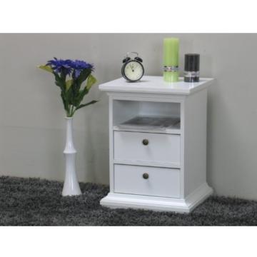 Nachttisch Landhaus Klassisch Weiß Holz Stehend Eckig Schublade Schränkchen  Schlafzimmer