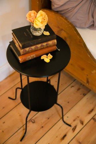 beistelltisch cocktailtisch nachttisch landhaus rund schwarz metall stehend offen. Black Bedroom Furniture Sets. Home Design Ideas