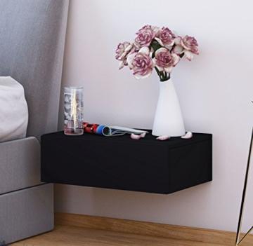 AuBergewohnlich Nachttisch Holz Modern Klassisch Schwarz Holz Hängend Eckig Schublade Offen  Schlafzimmer Jugendzimmer