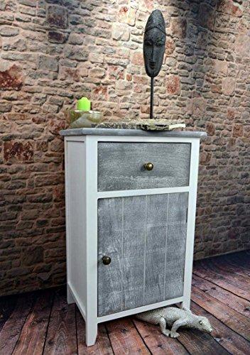 Livitat® Nachttisch Nachtschrank Kommode Used Landhaus Shabby Vintage Weiß Grau LV1052 (2er Set) - 2