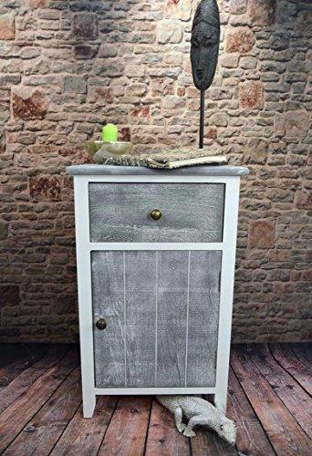 Livitat® Nachttisch Nachtschrank Kommode Used Landhaus Shabby Vintage Weiß Grau LV1052 (2er Set) - 3