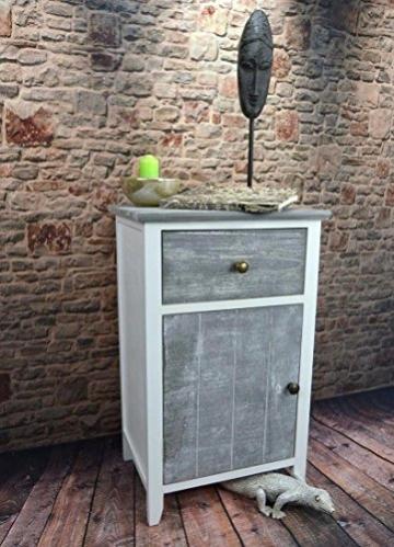 Livitat® Nachttisch Nachtschrank Kommode Used Landhaus Shabby Vintage Weiß Grau LV1052 (2er Set) - 4