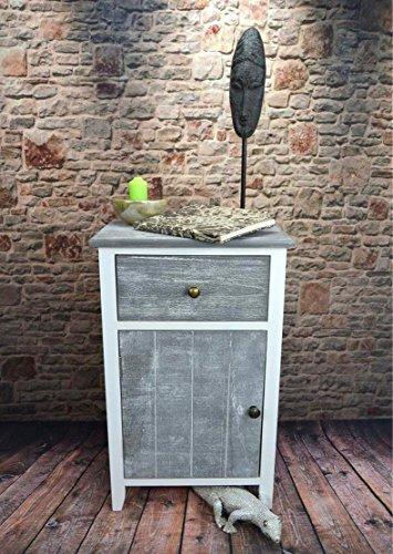 Livitat® Nachttisch Nachtschrank Kommode Used Landhaus Shabby Vintage Weiß Grau LV1052 (2er Set) - 5