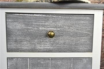 Livitat® Nachttisch Nachtschrank Kommode Used Landhaus Shabby Vintage Weiß Grau LV1052 (2er Set) - 6