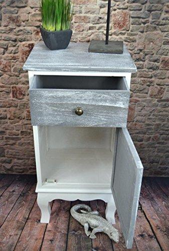 Livitat® Nachttisch Nachtschrank Kommode Used Landhaus Shabby Vintage Weiß Grau LV1052 (2er Set) - 7