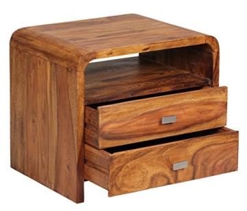 1PLUS Sheesham Massivholz Nachtkonsole mit 2 Schubladen und Ablage 50 x 40 x ... -