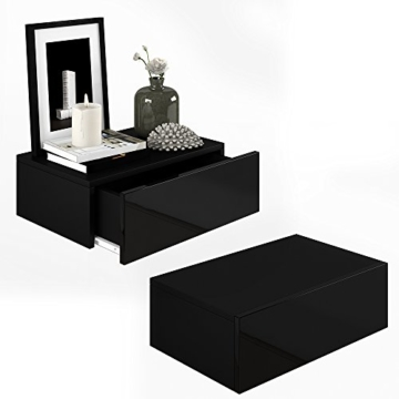 2x nachttisch kommode nachtschrank schublade ablage schrank schlafzimmer schwarz hochglanz. Black Bedroom Furniture Sets. Home Design Ideas