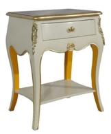 Casa Padrino Barock Kommode mit 1 Schublade Antik Weiß / Gold H 70 cm, B 50 cm - - Nachttisch Konsole - Nachtschrank -