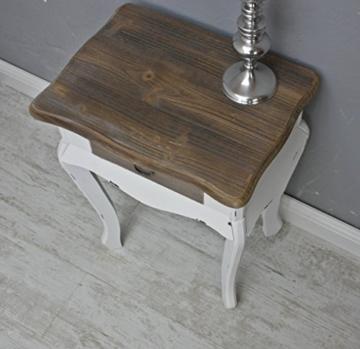 elbmöbel Nachttisch in weiß braun aus Holz im Landhaus-Stil (57cm) -