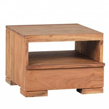 FineBuy Nachttisch Massiv-Holz Akazie Nacht-Kommode 30 cm 1 Schublade Ablage Nachtschrank Landhaus-Stil Echt-Holz Nachtkästchen dunkel-braun Nacht-Konsole Natur-Produkt Schlafzimmer-Möbel Unikat -