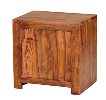 FineBuy Nachttisch Massiv-Holz Sheesham Nacht-Kommode 40 cm 1 Schublade 1 Ablage-Fach Nachtschrank Landhaus-Stil Echt-Holz Nachtkästchen dunkel-braun Nacht-Konsole Natur-Produkt Schlafzimmer-Möbel -