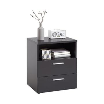 FMD Möbel Colima 2 Nachtkonsole, Holz, schwarz, 49.5 x 40 x 61.5 cm -