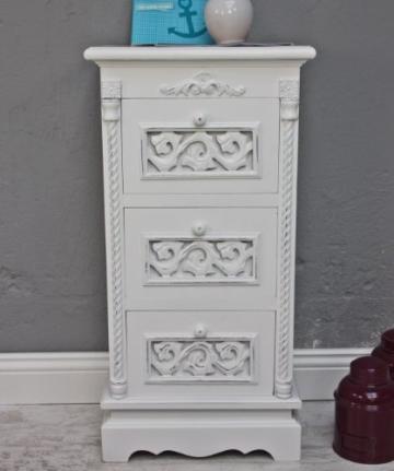 kommode 3 schubladen 64 x 34cm tisch wei antik landhaus barock nachtschrank nachttisch. Black Bedroom Furniture Sets. Home Design Ideas