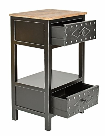 kommode schrank antik industrie design holz mit metall nachttisch beistelltisch. Black Bedroom Furniture Sets. Home Design Ideas