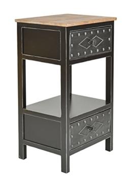 Kommode Schrank Antik Industrie Design Holz mit Metall Nachttisch Beistelltisch -