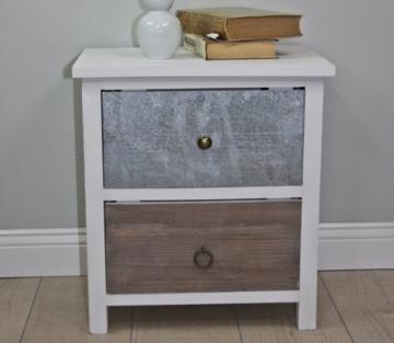 Kommode weiß HOLZ braun antik Landhaus Nachtschrank Nachttisch Sideboard -