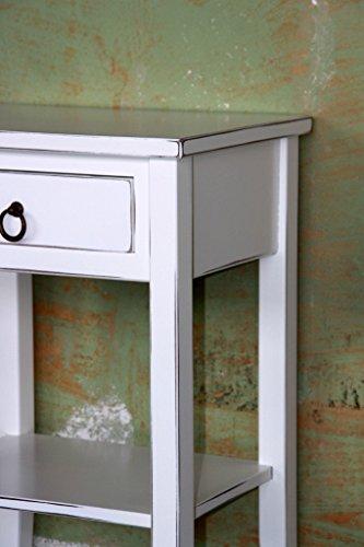 Massivholz Nachttisch Nachtkonsole Beistelltisch - Holz massiv weiß antik -