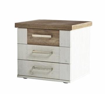 Nachtkommode DURO Nachttisch mit 3 Schubladen, Pinie weiß antik -