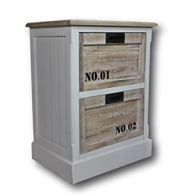 Nachtschrank Schrank braun weiß antik Holz NEU Kommode Zahl Nachttisch Landhaus -