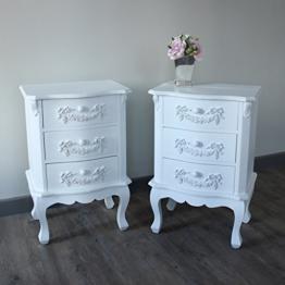 Pays Blanc Range–Möbel Bundle, Paar Antik Weiß Nachttisch mit 3Schubladen -