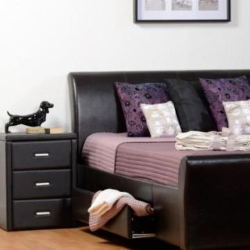 Prado Nachttisch, 3 Schubladen, Schwarz -