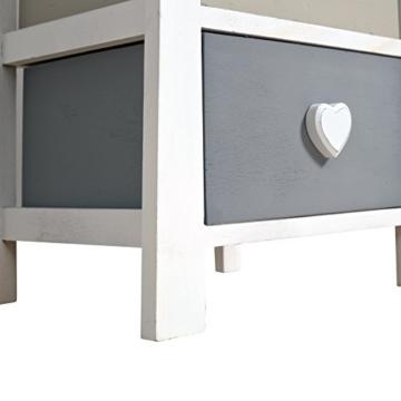 Rebecca Srl Nachttisch Nachtschrank Nachtkästchen Kommode 3 Schubladen Paulownienholz weiß beige hellgrau Shabby Vintage Herzknöpfen Schlafzimmer Badezimmer (Code RE4366) -