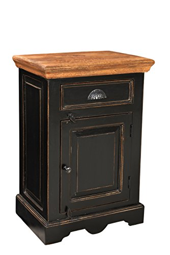 SIT-Möbel 5859-11 Nachttisch Corsica, 50 x 40 x 60 cm, Mango / MDF, schwarz mit honigfarbiger Deckplatte -