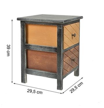 Ts Ideen Kommode Schrank Shabby Schwarz Nachttisch 2 Schubladen Braun Beige  Schlafzimmer Wohnzimmer Kinderzimmer Badezimmer Oder Büro