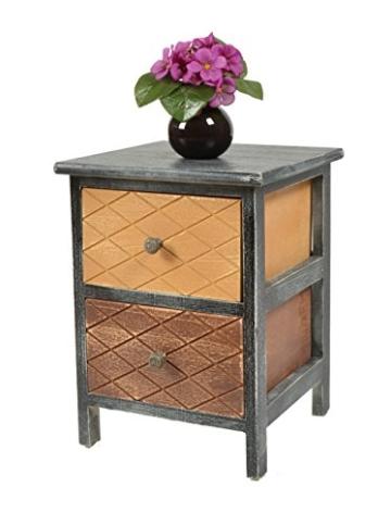 ts-ideen Kommode Schrank shabby schwarz Nachttisch 2 Schubladen braun beige Schlafzimmer Wohnzimmer Kinderzimmer Badezimmer oder Büro -