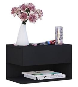 VCM 912341 Nachttisch, Holz, schwarz, 29.5 x 46.3 x 30 cm -