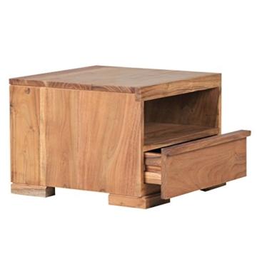 wohnling nachttisch massiv holz akazie nacht kommode 30 cm 1 schublade ablage nachtschrank. Black Bedroom Furniture Sets. Home Design Ideas