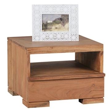 WOHNLING Nachttisch Massiv-Holz Akazie Nacht-Kommode 30 cm 1 Schublade Ablage Nachtschrank Landhaus-Stil Echt-Holz Nachtköstchen dunkel-braun Nacht-Konsole Natur-Produkt Schlafzimmer-Möbel Unikat -