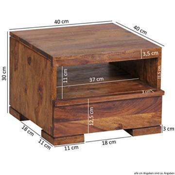 WOHNLING Nachttisch Massiv-Holz Sheesham Nacht-Kommode 30 cm 1 Schublade Ablage Nachtschrank Landhaus-Stil Echt-Holz Nachtköstchen dunkel-braun Nacht-Konsole Natur-Produkt Schlafzimmer-Möbel Unikat -