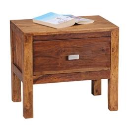 WOHNLING Nachttisch Massiv-Holz Sheesham Nacht-Kommode 40 cm 1 Schublade Ablage Nachtschrank Landhaus-Stil Echt-Holz Nachtköstchen dunkel-braun Nacht-Konsole Natur-Produkt Schlafzimmer-Möbel Unikat -