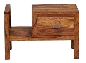 WOHNLING Nachttisch Massiv-Holz Sheesham Nacht-Kommode 40 cm Schublade mit Zeitungsablage Nachtschrank Echt-Holz Nachtköstchen dunkel-braun Landhaus-Stil Nachtkonsole Natur-Produkt Schlafzimmer-Möbel -
